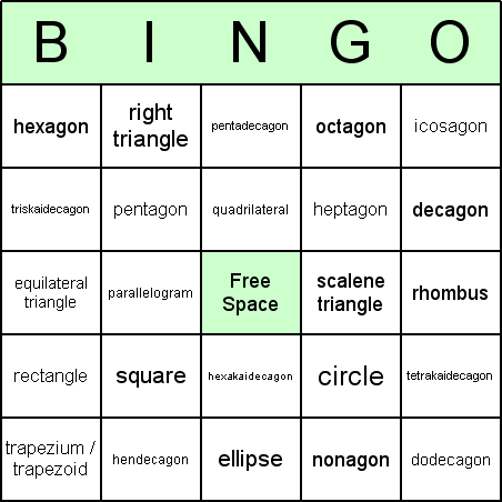 Here is an example of a typical 2D Shapes bingo card: