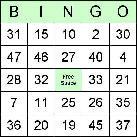 ... to which correspond to the numbers on the students' bingo cards