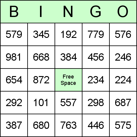 Long Subtraction Bingo Card